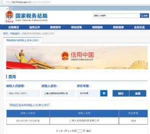 """恭喜我公司""""上海九凌网络科技有限公司""""获评为纳税人信用A级"""