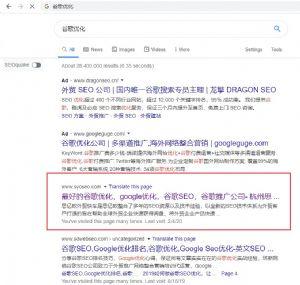 我公司几个网站在Google和百度等搜索引擎的排名展示